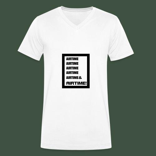 Airtime Logo schwarz auf weiss - Männer Bio-T-Shirt mit V-Ausschnitt von Stanley & Stella