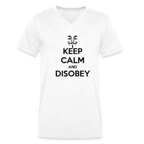 keep calm and disobey thi - Økologisk T-skjorte med V-hals for menn fra Stanley & Stella