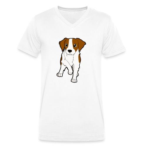 Breton bianco rosso - T-shirt ecologica da uomo con scollo a V di Stanley & Stella