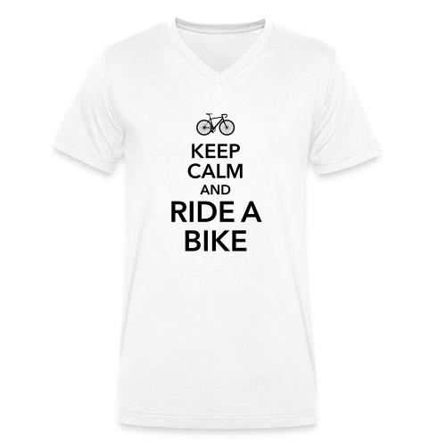 keep calm and ride a bike Fahrrad Sattel Drahtesel - Men's Organic V-Neck T-Shirt by Stanley & Stella