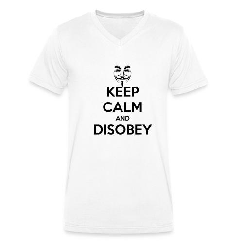 keep calm and disobey thi - Ekologiczna koszulka męska z dekoltem w serek Stanley & Stella
