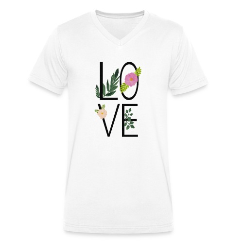 Love Sign with flowers - Men's Organic V-Neck T-Shirt by Stanley & Stella