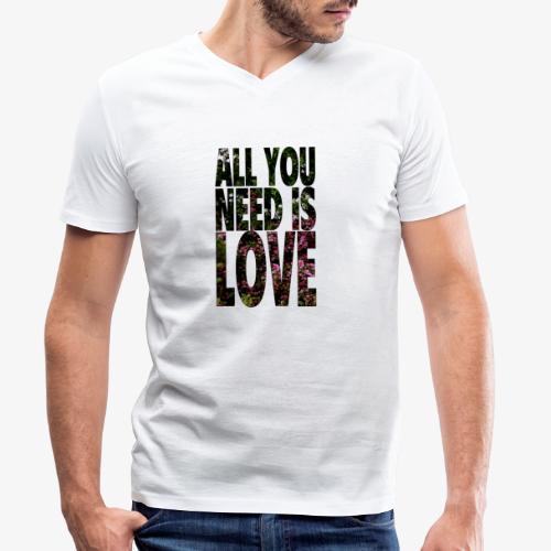 All You need is love - Ekologiczna koszulka męska z dekoltem w serek Stanley & Stella