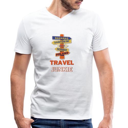 traveljunkie - i like to travel - Männer Bio-T-Shirt mit V-Ausschnitt von Stanley & Stella