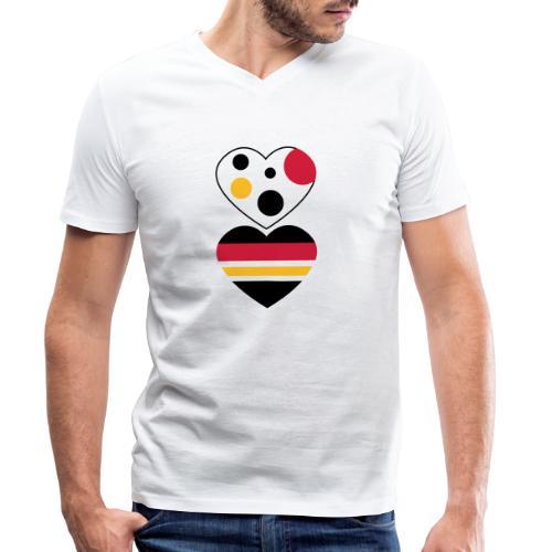 due cuori - T-shirt ecologica da uomo con scollo a V di Stanley & Stella