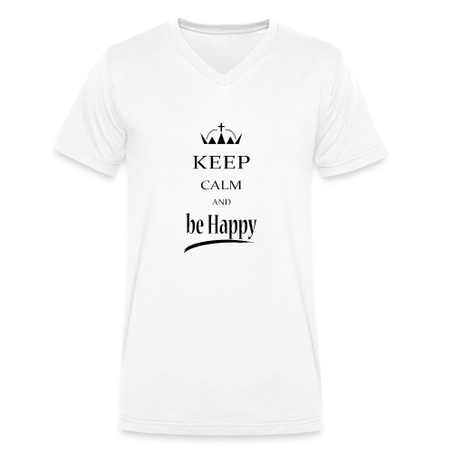 keep_calm and_be_happy-01 - T-shirt ecologica da uomo con scollo a V di Stanley & Stella