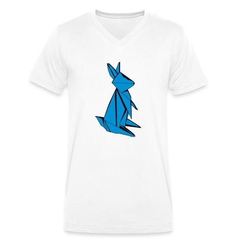 Origami Bunny - Men's Organic V-Neck T-Shirt by Stanley & Stella