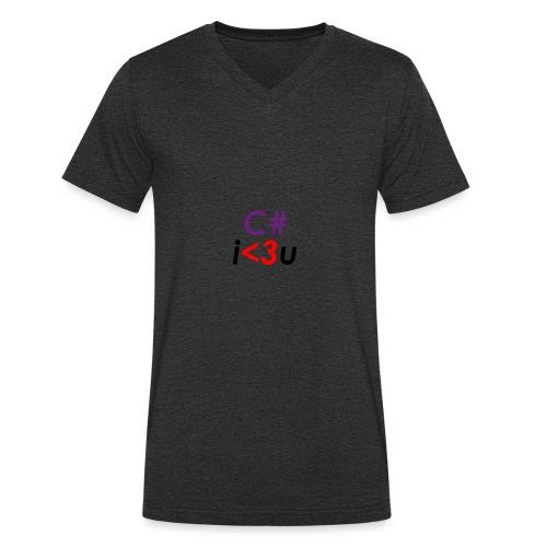 C# is love - T-shirt ecologica da uomo con scollo a V di Stanley & Stella