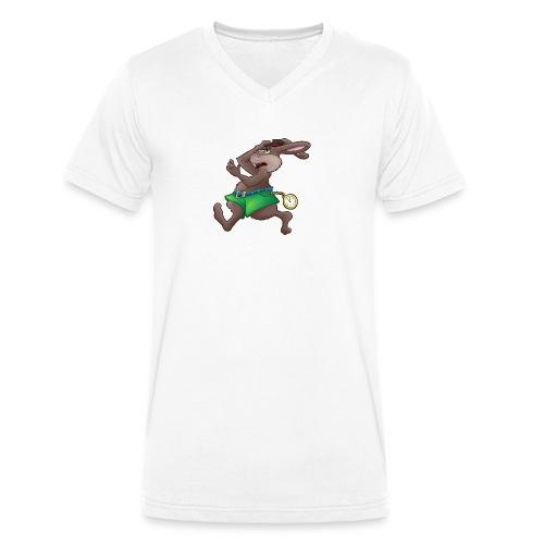 Zu Spät! - Hase mit Uhr - Männer Bio-T-Shirt mit V-Ausschnitt von Stanley & Stella