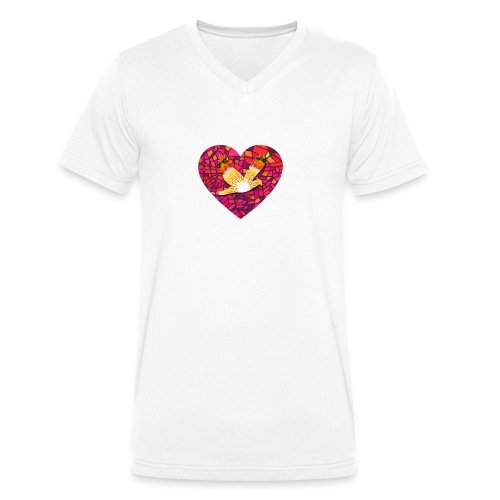 Make your heart fly with peace - Men's Organic V-Neck T-Shirt by Stanley & Stella