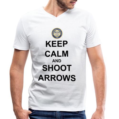 Keep Calm And Shoot Arrows - Svart Text - Ekologisk T-shirt med V-ringning herr från Stanley & Stella