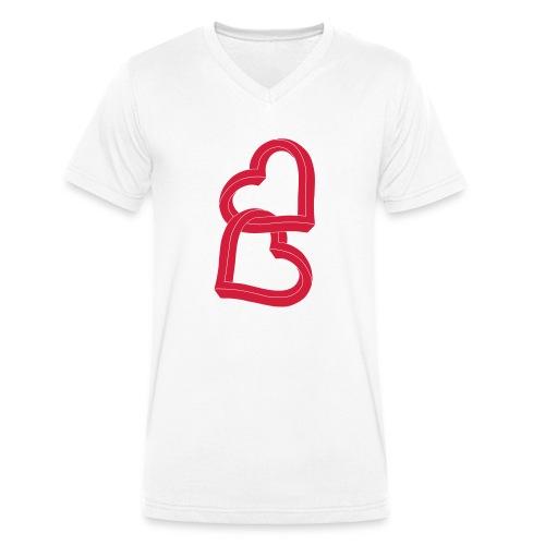 Due cuori uniti ca27 - T-shirt ecologica da uomo con scollo a V di Stanley & Stella