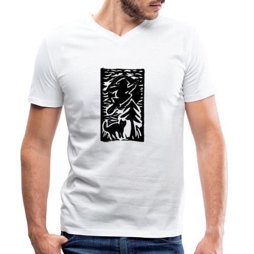 Hexe mit Katze - Männer Bio-T-Shirt mit V-Ausschnitt von Stanley & Stella