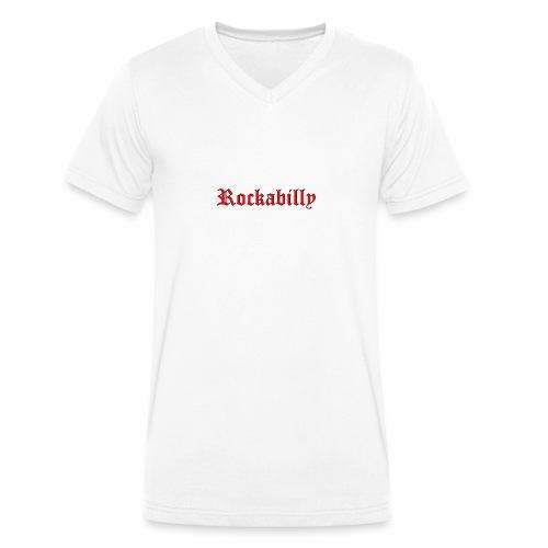 rockabilly red contour noir - T-shirt bio col V Stanley & Stella Homme