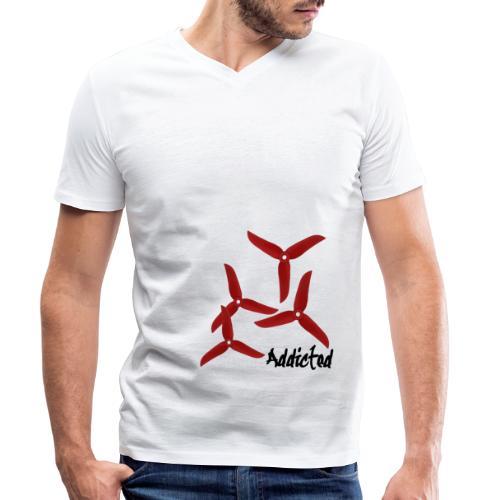 addicted (black) with props (red) - Mannen bio T-shirt met V-hals van Stanley & Stella