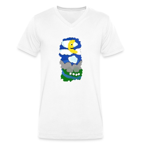 smiling moon and funny sheep - Men's Organic V-Neck T-Shirt by Stanley & Stella