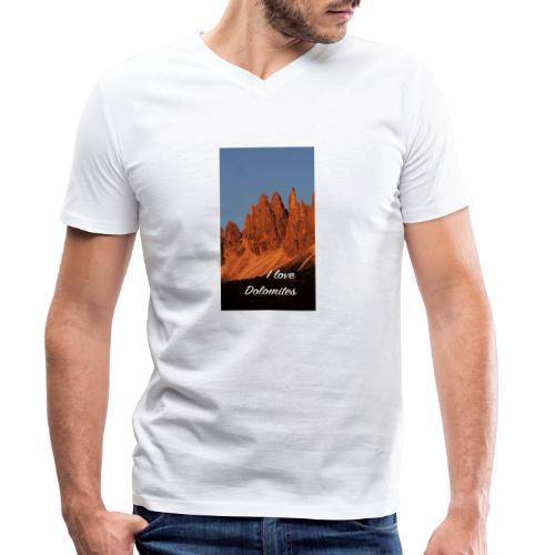 Abendglühen in König Laurins Rosengarten - Männer Bio-T-Shirt mit V-Ausschnitt von Stanley & Stella