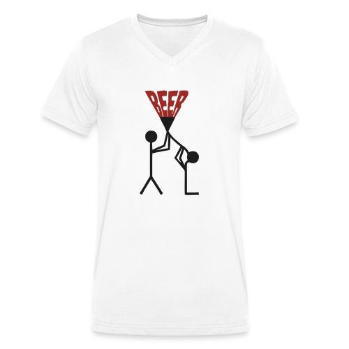 Bier Trichter - Männer Bio-T-Shirt mit V-Ausschnitt von Stanley & Stella