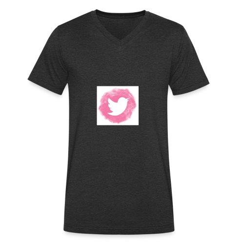 pink twitt - Men's Organic V-Neck T-Shirt by Stanley & Stella