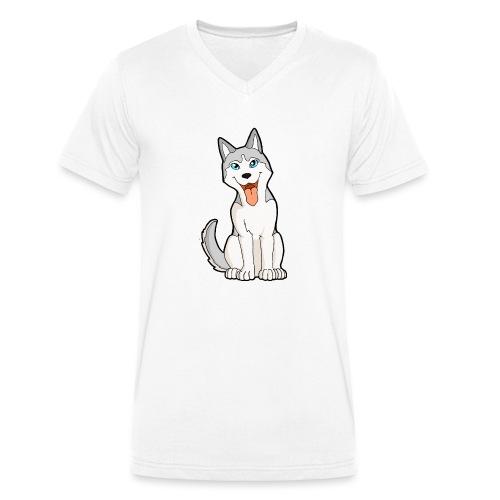 Husky grigio occhi azzurri - T-shirt ecologica da uomo con scollo a V di Stanley & Stella