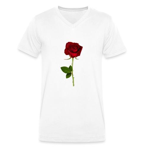 Rød Rose - Økologisk Stanley & Stella T-shirt med V-udskæring til herrer