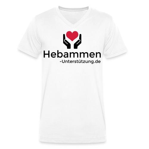 Logo Hebammen Unterstützung de schwarz klein - Männer Bio-T-Shirt mit V-Ausschnitt von Stanley & Stella