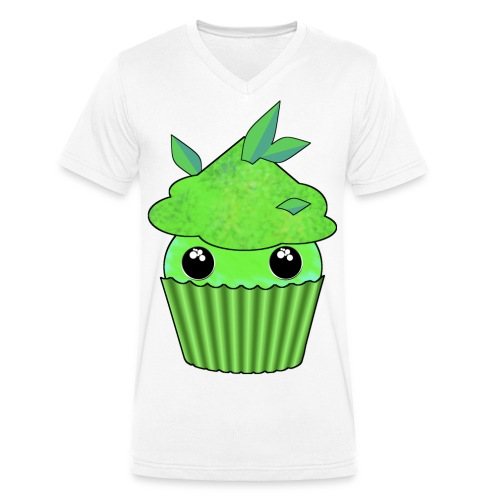 Green Kawaii Cupcake with mint or green tea leaf - Men's Organic V-Neck T-Shirt by Stanley & Stella
