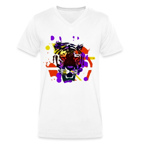 Tiger Splatter Motive - Men's Organic V-Neck T-Shirt by Stanley & Stella
