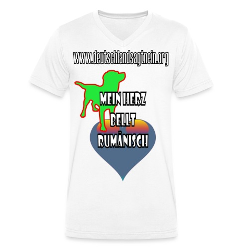 Herz bellt rumänisch - Männer Bio-T-Shirt mit V-Ausschnitt von Stanley & Stella
