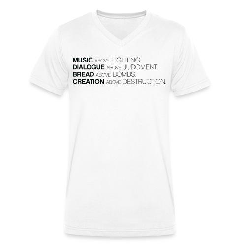 MUSIC ABOVE FIGHTING V-hals t-shirt - Mannen bio T-shirt met V-hals van Stanley & Stella