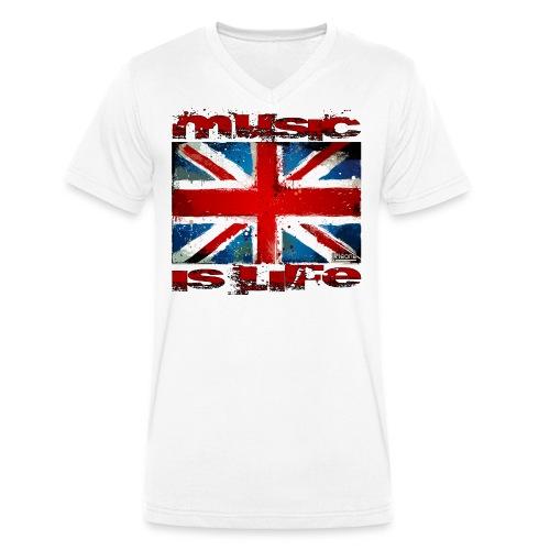 drapeau anglais music is life horisontal - T-shirt bio col V Stanley & Stella Homme