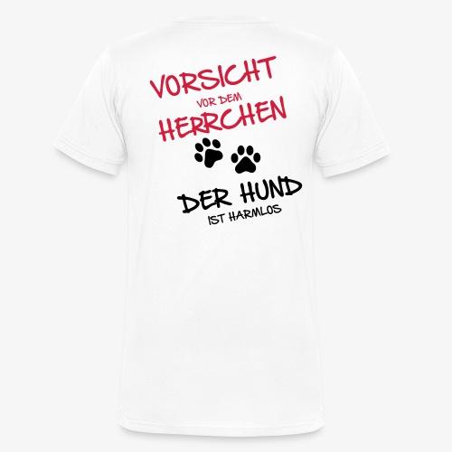 Vorsicht Herrchen - Männer Bio-T-Shirt mit V-Ausschnitt von Stanley & Stella
