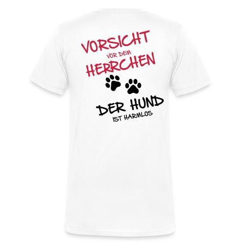 Vorschau: Vorsicht Herrchen - Männer Bio-T-Shirt mit V-Ausschnitt von Stanley & Stella