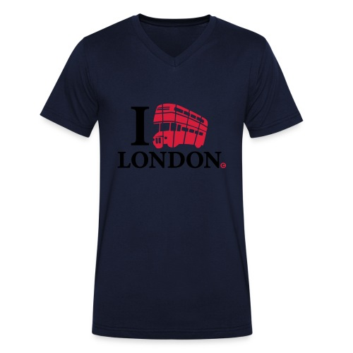 I love (Double-decker bus) London - Men's Organic V-Neck T-Shirt by Stanley & Stella
