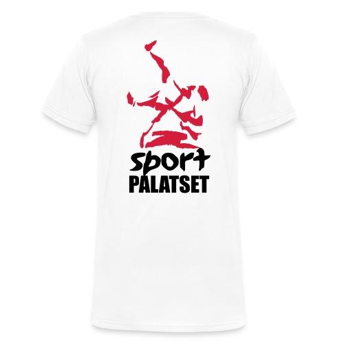 Motiv med svart och röd logga - Ekologisk T-shirt med V-ringning herr från Stanley & Stella