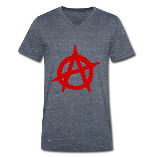 Anarchy logo rosso - T-shirt ecologica da uomo con scollo a V di Stanley & Stella