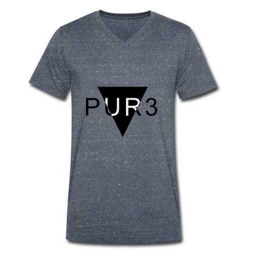 Pur3 grå hettegenser - Økologisk T-skjorte med V-hals for menn fra Stanley & Stella