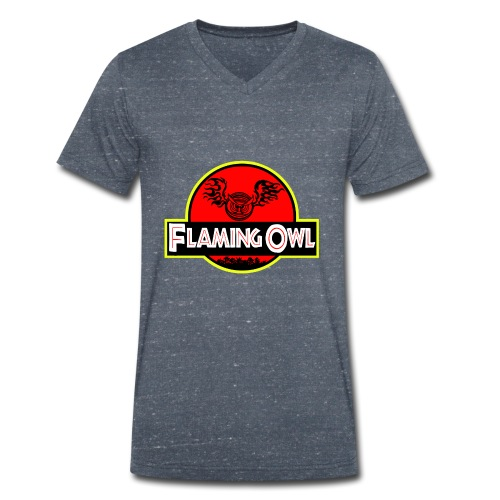 Flaming Jurassic Owl - Ekologisk T-shirt med V-ringning herr från Stanley & Stella