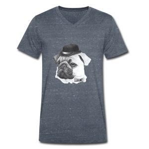 pug with bowler - Økologisk Stanley & Stella T-shirt med V-udskæring til herrer