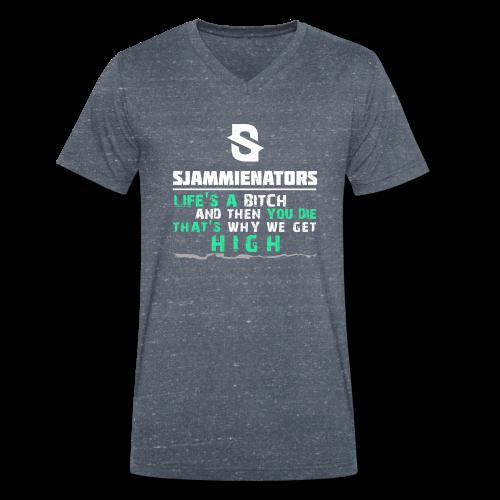 Sjammienators Life s A Bitch White - Mannen bio T-shirt met V-hals van Stanley & Stella