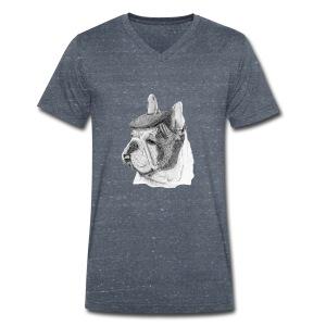 French Bulldog w/beret - Økologisk Stanley & Stella T-shirt med V-udskæring til herrer