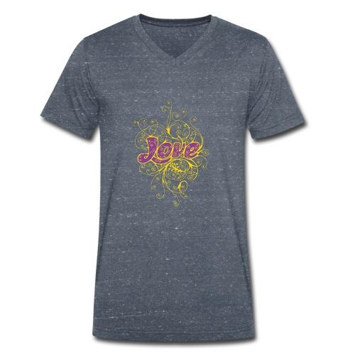 LOVE VIOLA CON DECORI - T-shirt ecologica da uomo con scollo a V di Stanley & Stella
