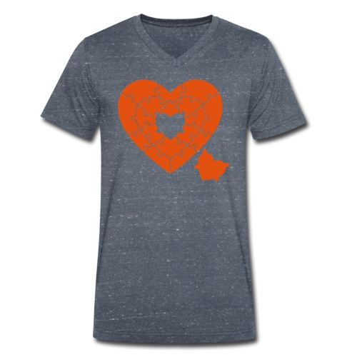 Heart Puzzle - Men's Organic V-Neck T-Shirt by Stanley & Stella