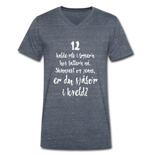 Er du med eller imot oss? - Økologisk T-skjorte med V-hals for menn fra Stanley & Stella
