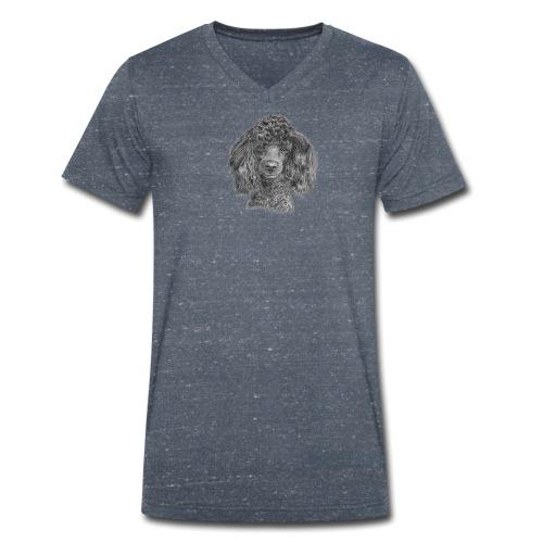 poodle-black-P - Økologisk Stanley & Stella T-shirt med V-udskæring til herrer