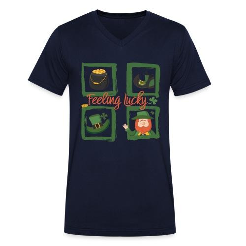 Be happy - feeling lucky St. Patricks day - Men's Organic V-Neck T-Shirt by Stanley & Stella