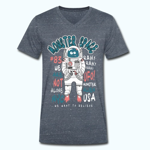 Little Monster In Space 80s Retro - Men's Organic V-Neck T-Shirt by Stanley & Stella