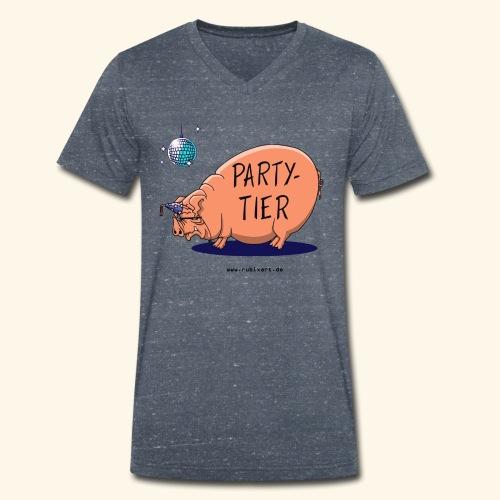 Partytier Schwein Fete Feier Party Sau - Männer Bio-T-Shirt mit V-Ausschnitt von Stanley & Stella