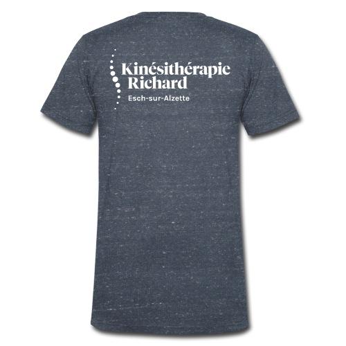 Logo Kiné Richard, Vorne-Hinten, White - Männer Bio-T-Shirt mit V-Ausschnitt von Stanley & Stella