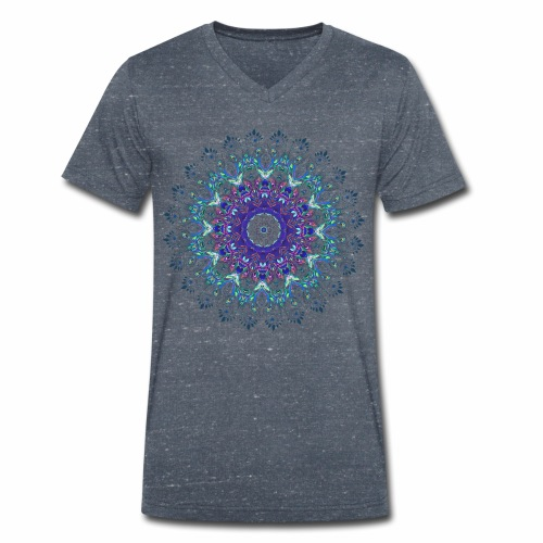 Mørk lilla mandala - Økologisk Stanley & Stella T-shirt med V-udskæring til herrer